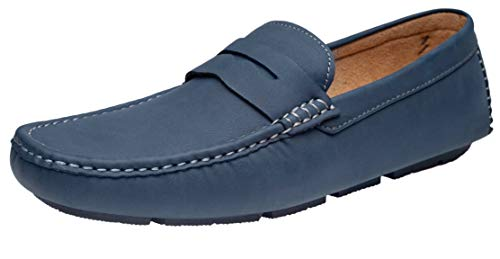 Blue Mens Pennies - JOUSEN Men's Loafer Lightweight Slip On Driving Shoes Soft Penny Loafers (10.5,Navy)