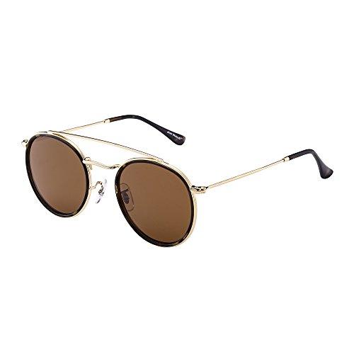 6e71926af9 Round Polarized Aviator Sunglasses Metal Frame Flat Circle lens Glasses Men  Women (Gold Alloy Tortoise