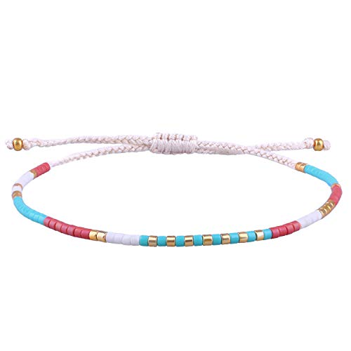 KELITCH Color Crystal Shell Mix Beaded Friendship Bracelet Handmade Wrap Fashion Charm Bangles Red