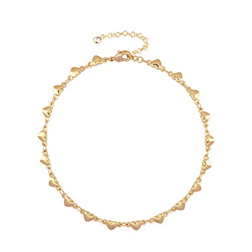 (Mevecco Gold Dainty Heart Anklet,14K Gold Plated Cute Tiny Heart Shaped Boho Beach Minimalist Simple Foot Chain Ankle Bracelet for Women and Girls)