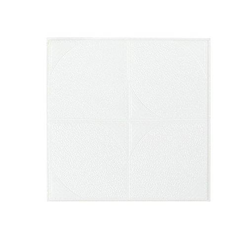 New PE Foam 3D Wallpaper DIY Wall Stickers Wall Decor Embossed Brick Stone (White, 30 X 30 X 0.65cm) -