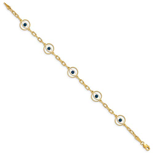 14k Yellow Gold Enameled 5 Eye Bracelet 7 Inch Fancy Fine Jewelry Gifts For Women For Her