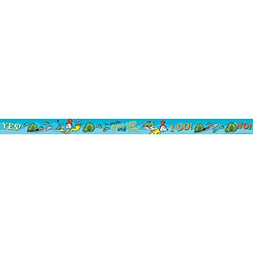 (Eureka Dr. Seuss Green Eggs and Ham Bulletin Board Trim and Classroom Decoration for Teachers, 12pc, 3.25'' W x 37'')