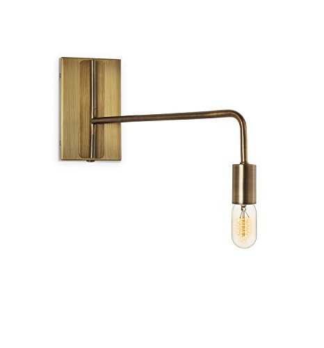 Bronze Wall Sconce Lamp Light - Adjustable Swing Arm, Plugin and Hardwire Installation Options, Edison Bulb Included, Brooklyn Bulb Co. Hoyt Collection - ETL Listed