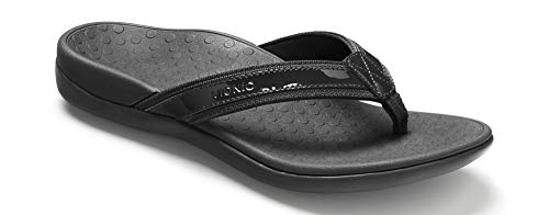(Vionic Women's Tide II Toe Post Sandal - Ladies Flip Flop with Concealed Orthotic Arch Support Black 5 B(M) US)