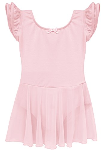 Dancina Girls Skirted Leotard Dress Ballet Dance Flutter Sleeve Cotton Lining 4 Ballet Pink - Cute Halloween Comments