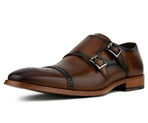 Asher Green Mens Dress Shoes, Genuine Calf Leather Cap Toe, Double Monk Strap