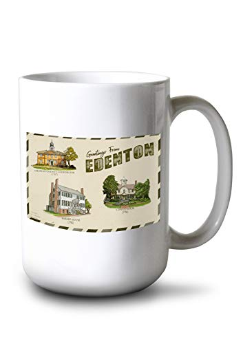 (Edenton, North Carolina - Greetings from Edenton - Vintage Postcard Press Arkwork (15oz White Ceramic Mug))