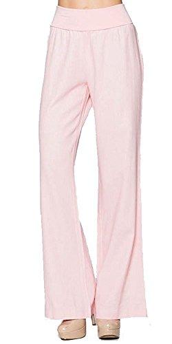 Rustsoul Women's Fold-Over Waist Linen Pants Blush X-Large