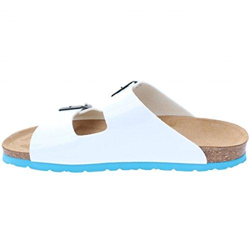 Backsun - Tongs / Sandales - Bali Homme Blanc Vernis Semelle Bleu - Blanc