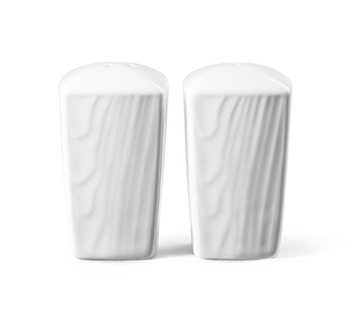 Roscher Woodgrain Salt and Pepper Shakers (2-Piece Set) Textured, White Porcelain Finish | Small, Tabletop and Kitchen Cooking Use | Easy to Clean and Refillable