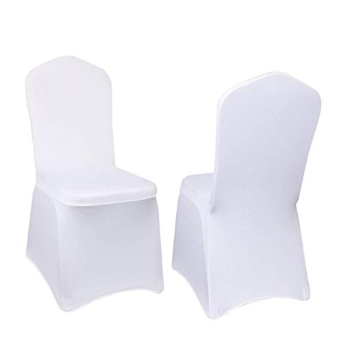 Party Cover - VEVOR 100 Pcs White Chair Covers Polyester Spandex Chair Cover Stretch Slipcovers for Wedding Party Dining Banquet Chair Decoration Covers (Flat Chair Cover, White/100PC)
