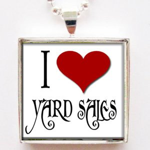 I Love Heart Yard Sales Glass Tile Pendant -