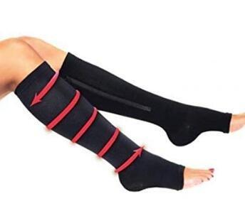 Row_120cc Un paio di calze a compressione Calze a compressione media a forma di tubo calze sportive con cerniera size L/XL (nero)