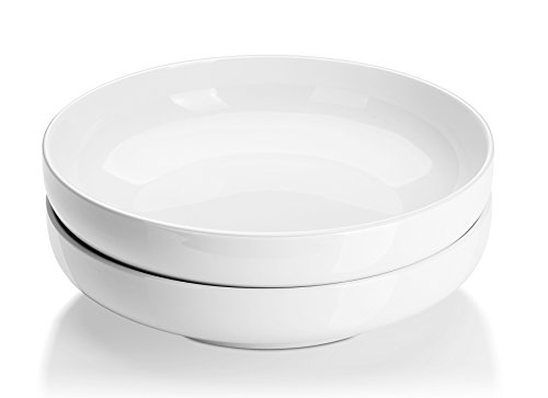 DOWAN 10 Inches/2 Quarts Porcelain Pasta/Salad Serving Bowls- Set of 2, Shallow, White