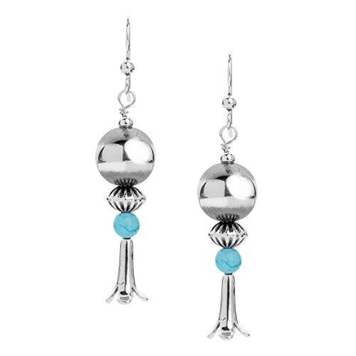 "American West Sterling Silver Blue Turquoise Gemstone Squash Blossom 2-1/4"" Drop Earrings"