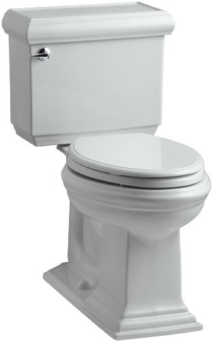 KOHLER K-3816-95 Memoirs Comfort Height Two-Piece Elongated 1.28 gpf Toilet with Classic Design, Ice Grey