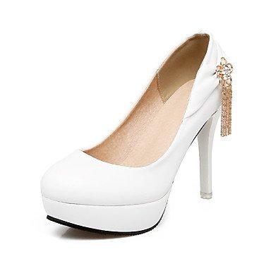 Talones de las mujeres Primavera Verano Otoño Club de los zapatos de cuero de boda oficina y carrera al aire libre Fiesta y Noche Tacón de aguja Vestido casual de la cadena del talón White