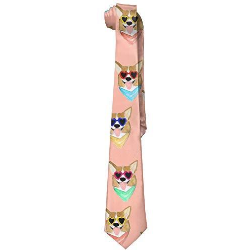 - Men's Colorful Corgi Love Sunglass Necktie Polyester Silk Soft Business Gentleman Tie Necktie
