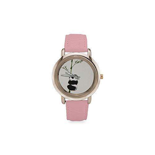 Panda Climb - Reloj de pulsera de bambú bañado en oro rosa con correa de cuero: Amazon.es: Relojes