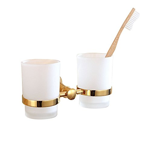 (Sumin Home 32511 Contemporary Wall Mounted Bathroom Double Tumbler and Toothbrush Holder Set, Gold)