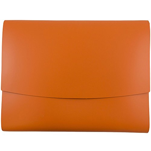 JAM Paper Italian Leather Portfolios with Snap Closure - 10 1/2'' x 13'' x 3/4''- Orange - 12/pack by JAM Paper