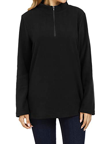 Baikea Long Sleeve Pullover, Women Standing Collar 1/4 Zipper Sweatshirt Leisure Daily Wear Warm Fashion Classic Tops Comfy Stretch Clothing Cool Design Blouse Black Large