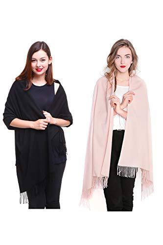 Retro Wool Jacket - REEMONDE Large Extra Soft Cashmere Blend Women Pashmina Shawl Wrap Stole Scarf (2 Pack - Black & Light pink)