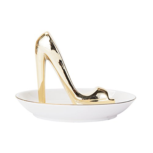 Elements Gold Shoe Ceramic Jewelry Tray, 5x4-Inch