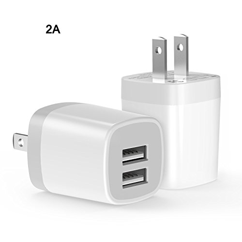 USB Wall Charger, Charger Adapter, 2-Pack 2 Amp Dual Port Quick Charger Plug Cube for iPhone 7/6S/6S Plus/6 Plus/6/5S/5, Samsung Galaxy S7/S6/S5 Edge, LG, HTC, Huawei, Moto, Kindle and More