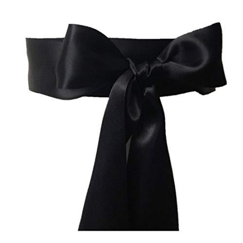 Wedding Sash Bridal Belts Simple Classic Silk Ribbon Sash for Dress (Black)