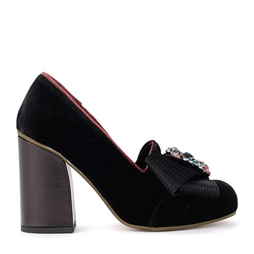 Velvet Black Shoes Buckle Tipe E Tacchi With Bow Women's Jewel AqIIgPO