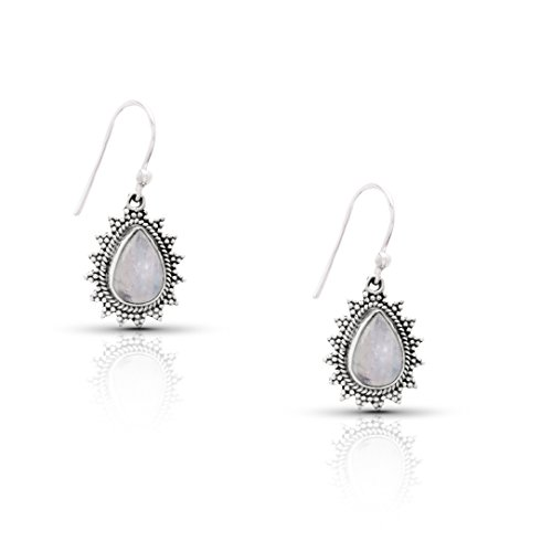 (Koral Jewelry Moonstone Pear Dangle Earrings Sterling Silver 925 Gipsy Boho Chic Ethnic Vintage Look)