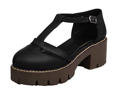 Pu Tsmlh007676 Sólido Aalardom Hebilla Negro De Sandalias Vestir Mujeres Con 1t1wq6g