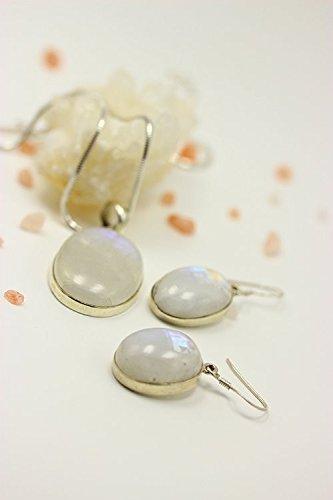 ASS Argent 925Pendentif et boucles d'oreilles avec pierres de Lune dans le kit de bijoux femme (Rainbow Moon Stone)