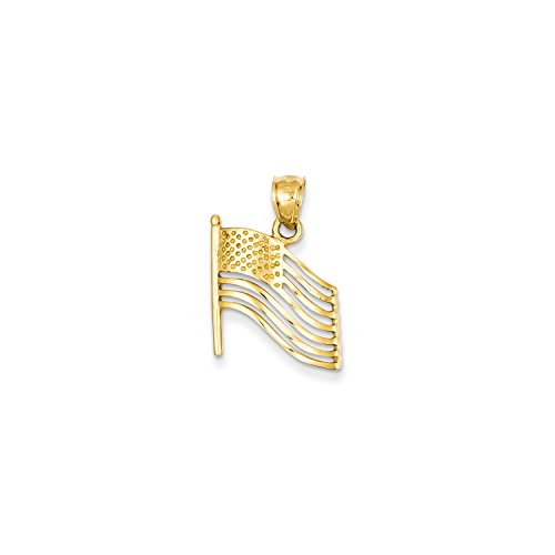 14k Yellow Gold American Flag (Roy Rose Jewelry 14K Yellow Gold American Flag Pendant)