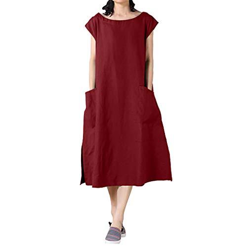 Women Summer Holiday Dress,Qingell Cotton Linen Dresses Cap