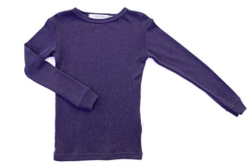 Pure Merino Wool Kids Thermal Top. Base Layer Underwear Purple 11-12 Yrs