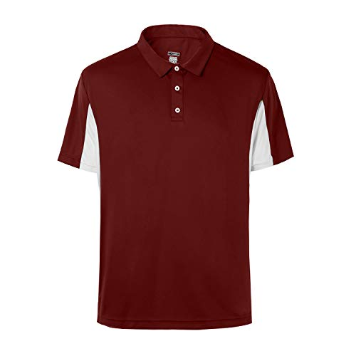 Men's Short Sleeve Moisture Wicking Performance Golf Polo Shirt (Red,M)