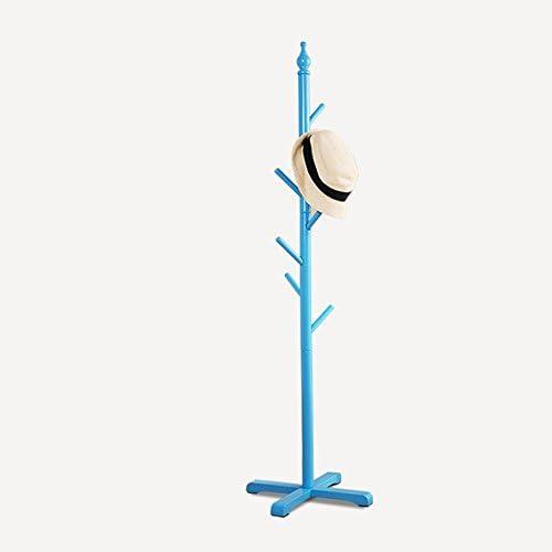 ZHIRONG コートラックベッドルーム床材ソリッドウッドチャイルドハンガー120 * 38CM ( 色 : 青 )