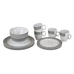 Bo-Camp – Tableware set – 100% Melamine – 16 pieces – White/Grey