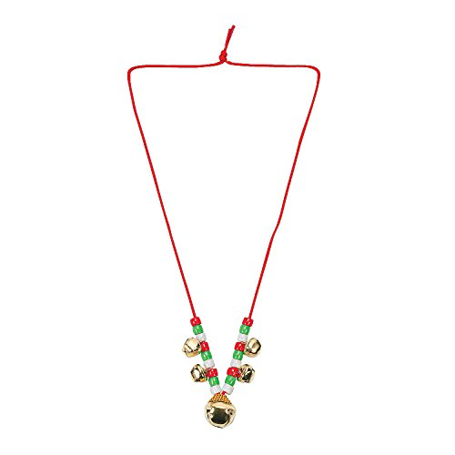 Beaded Jingle Bell Necklace Craft Activity Kit for Kids Jewelry Crafts-Makes 12 (Necklaces Christmas Beads)