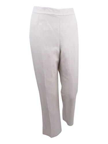 Kasper Women's Petite Size Linen Side Zip Pant, Sandalwood, 10P