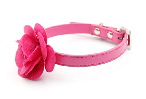 Lesypet Dog Rose Flower leather Collar Rose -Large