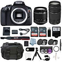 - Canon EOS Rebel T6 Bundle With EF-S 18-55mm f/3.5-5.6 IS II & EF 75-300mm f/4-5.6 III Lens + Advanced Accessory Kit - Including EVERYTHING You Need To Get Started