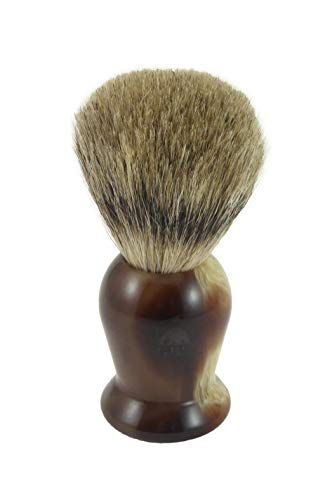 GBS 100% Pure Badger Bristle Shaving Brush With Faux Horn Handle Compliments Any Shaving Razor For Ultimate and Best Wet shaving Experience