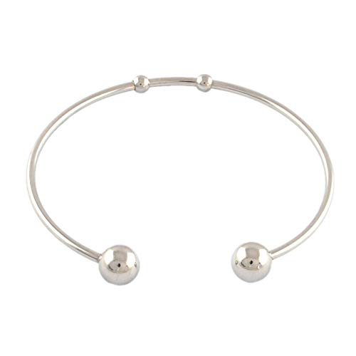 PH PandaHall 20 Pieces 2.3 Inch 304 Stainless Steel Ball Closure Adjustable Wire Blank Bracelet Expandable Cuff Bangle for Womens DIY Jewelry Making