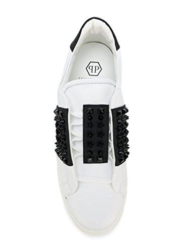 Philipp Plein Msc0514pco008n0102 Slip In Pelle Bianca / Nera Su Sneakers