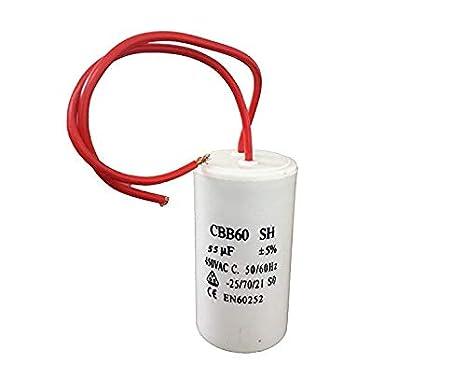 CBB60 3uF 450 V, 50//60 Hz, 2 cables Condensador para motor de corriente alterna