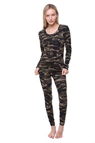 Outland Women's Thermal Set, Lightweight Ultra Soft Fleece Shirt and Tights Camouflage-XLarge